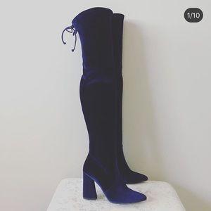 Stuart Weitzman dark blue velvet OTK boots